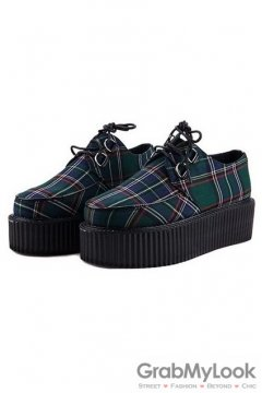 Tartan Scotland Plaid Green Checkers Pattern Old School Platforms Punk Rock Lace-Up Oxfords Flats Creepers Shoes