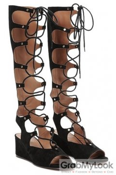 Straps Suede Black Gladiator High Top Roman Knee Boots Wedges Sandals Shoes