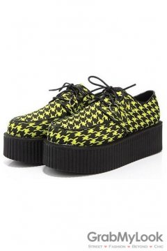 Houndstooth Yellow Checkers Pattern Old School Platforms Punk Rock Lace-Up Oxfords Flats Creepers Shoes