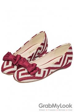 Tribal Pattern Bow Blunt Head Burgundy Loafers Ballets Flats Ballerina Shoes