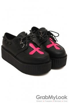 Black Red Cross Studs Gothic Platforms Punk Rock Lace-Up Oxfords Flats Creepers Shoes