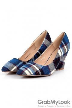 Tartan Scotland Plaid Blue Checkers Pattern Old School Punk Rock Point Head Wedges Shoes