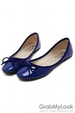 Patent Bow Round Head Blue Loafers Ballets Flats Ballerina Shoes