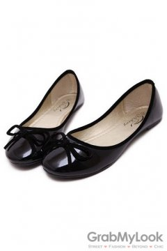 Patent Bow Round Head Black Loafers Ballets Flats Ballerina Shoes
