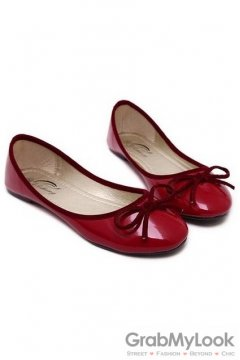Patent Bow Round Head Red Loafers Ballets Flats Ballerina Shoes