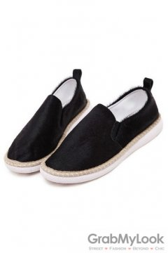 Pony Fur Vintage Black Lace Vintage Loafers Flats