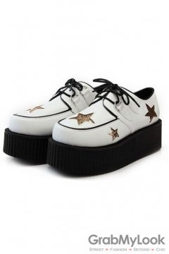 White Gold Glittering Stars Old School Platforms Punk Rock Lace-Up Oxfords Flats Creepers Shoes