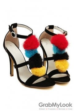 Thin Suede Straps Black Colorful Pom Sexy High Heels Stiletto Shoes Sandals