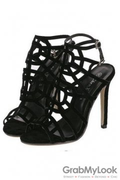 Suede Black Stiletto High Heels Gladiator Pump Women Sandals Shoes
