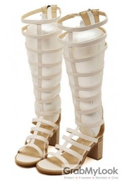 Straps Beige Gladiator High Top Roman Knee Boots High Heels Sandals Shoes