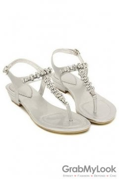 Silver Metallic Leather Diamante Crystals T Strap Flats Sandals Shoes