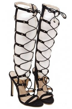 Straps Black Gladiator Point Head High Top Roman Knee Boots High Heels Sandals Shoes