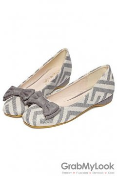 Tribal Pattern Bow Blunt Head Grey Loafers Ballets Flats Ballerina Shoes
