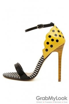 Polka Dots Polkadots Yellow Black Stiletto High Heels Pump Women Sandals Shoes