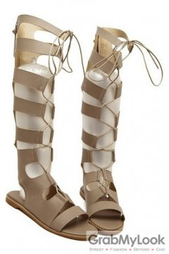 Straps Brown Gladiator High Top Roman Knee Boots Flats Sandals Shoes
