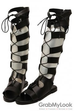 Straps Black Gladiator High Top Roman Knee Boots Flats Sandals Shoes