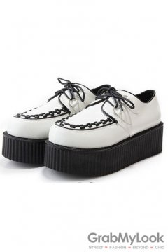 Faux Leather White Old School Platforms Punk Rock Lace-Up Oxfords Flats Creepers Shoes