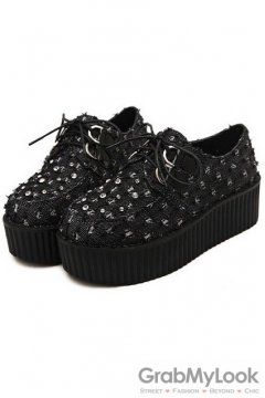 Denim Black Diamante Lace Up Platforms Creepers Oxfords Shoes