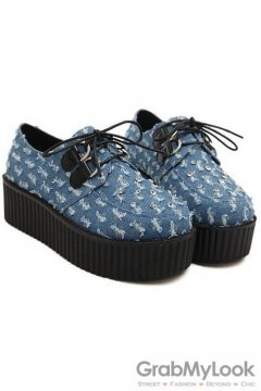 Denim Blue Diamonte Lace Up Platforms Creepers Oxfords Shoes