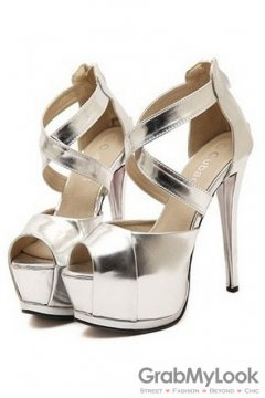 Cross Leather Straps Silver Open Toe Platforms High Heels Stiletto Sandals Shoes