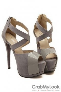 Cross Leather Straps Suede Patent Grey Open Toe Platforms High Heels Stiletto Sandals Shoes