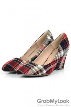 Tartan Scotland Plaid Red Checkers Pattern Old School Punk Rock Point Head Wedges Shoes