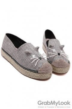 Canvas Mouse Grey Loafers Flats Shoes