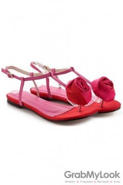 Rose Tulip Satin T Strap Pink Red Flats Sandals Shoes