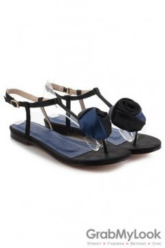 Rose Tulip Satin T Strap Black Blue Flats Sandals Shoes