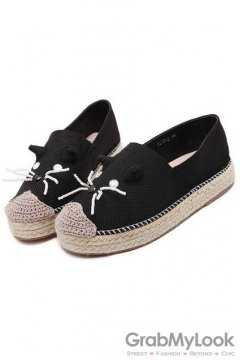 Canvas Mouse Black Loafers Flats Shoes