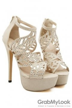 Leaves Diamante Beige Suede Stiletto High Heels Platforms Pump Women Sandals Shoes