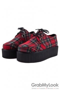 Tartan Scotland Plaid Red Checkers Pattern Old School Platforms Punk Rock Lace-Up Oxfords Flats Creepers Shoes