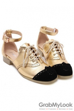 Gothic Vintage Punk Rock Gold Lace Up Ankle Strap Loafers Flats Shoes