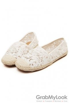 Roses Floral Flowers Vintage White Crochet Lace Vintage Loafers Flats
