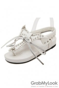 Cross Bow White Slingback Punk Rock Studs Flats Gladiator Sandals Shoes