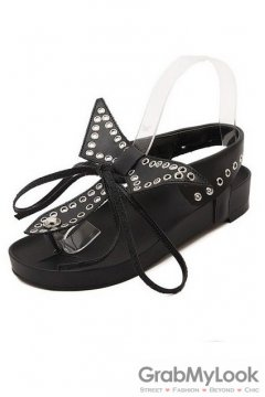 Cross Bow Black Slingback Punk Rock Studs Flats Gladiator Sandals Shoes
