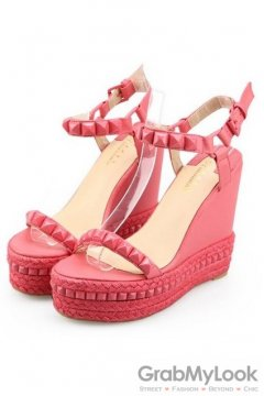 Square Studs Pink Wedges Punk Rock Platforms High Heels Shoes Sandals