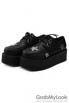 Black Silver Glittering Stars Old School Platforms Punk Rock Lace-Up Oxfords Flats Creepers Shoes