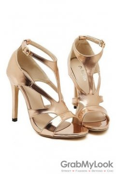 Straps Gold Stiletto High Heels Pump Women Sandals Shoes