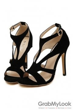 Straps Black Suede Stiletto High Heels Pump Women Sandals Shoes