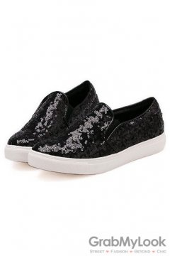 Sequins Glittering Sparkles Black Loafers Women Shoes Sneakers Flats