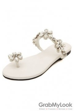 Crystal Flower Diamante Embellished Thumb Glamourous White Flats Sandals Shoes