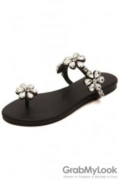 Crystal Flower Diamante Embellished Thumb Glamourous Black Flats Sandals Shoes