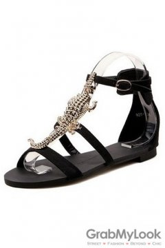 Suede Straps Diamante Salamander Lizard Embellished Glamourous Flats Sandals Shoes