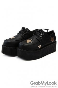 Black Gold Glittering Stars Old School Platforms Punk Rock Lace-Up Oxfords Flats Creepers Shoes