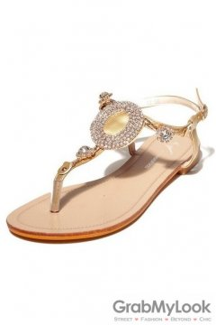 Crystal Diamante Embellished T Strap Glamourous Gold Flats Sandals Shoes
