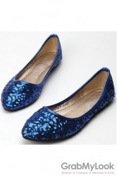 Sequins Glittering Sparkle Point Head Loafers Ballets Flats Ballerina Shoes