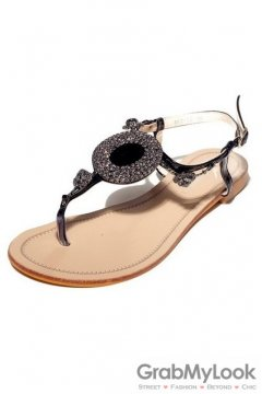 Crystal Diamante Embellished T Strap Glamourous Black Flats Sandals Shoes