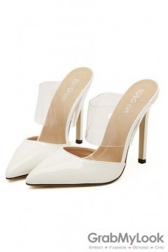 Patent Leather Transparent White Point Head High Heels Stiletto Sandals Shoes