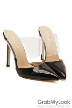 Patent Leather Transparent Black Point Head High Heels Stiletto Sandals Shoes